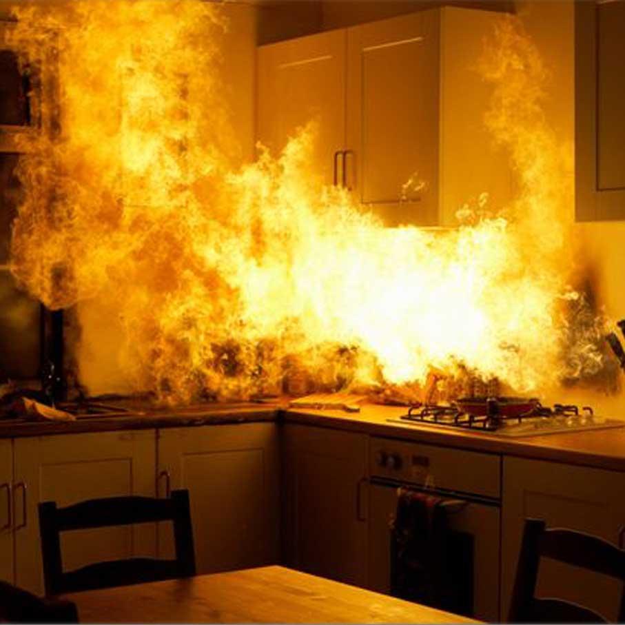 Kitchen fire starts on the stove